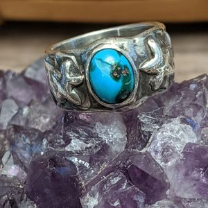 Sterling Silver Heavy Old Pawn Turquoise Ring
